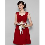 Short Mini Chiffon Lace Bridesmaid Dress Burgundy Plus Sizes Petite A Line Jewel