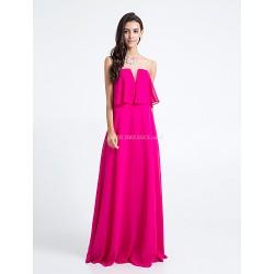 Floor Length Chiffon Bridesmaid Dress Fuchsia Plus Sizes Petite Sheath Column Strapless