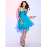 Cocktail Party / Homecoming / Prom Dress - Pool Plus Sizes / Petite Sheath/Column Strapless Short/Mini Chiffon / Stretch Satin Special Occasion Dresses