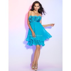 Cocktail Party Homecoming Prom Dress Pool Plus Sizes Petite Sheath Column Strapless Short Mini Chiffon Stretch Satin
