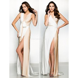 Formal Evening Dress - Multi-color Sheath/Column V-neck Sweep/Brush Train Jersey
