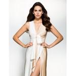 Formal Evening Dress - Multi-color Sheath/Column V-neck Sweep/Brush Train Jersey Special Occasion Dresses