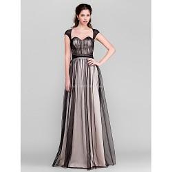 Floor Length Tulle Bridesmaid Dress Black Sheath Column Sweetheart