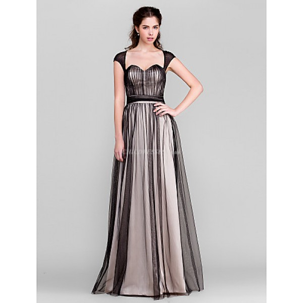 TS Couture Floor-length Tulle Bridesmaid Dress - Black Sheath/Column Sweetheart Special Occasion Dresses