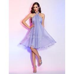 Cocktail Party Holiday Dress Lavender Plus Sizes Petite A Line Halter Knee Length Chiffon