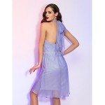 TS Couture Cocktail Party / Holiday Dress - Lavender Plus Sizes / Petite A-line Halter Knee-length Chiffon Special Occasion Dresses