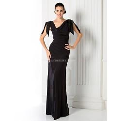 Prom Military Ball Formal Evening Dress Black Plus Sizes Petite Sheath Column V Neck Floor Length Jersey