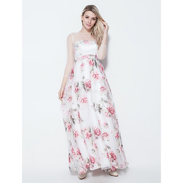 Formal Evening Dress - Ruby / Clover Plus Sizes / Petite A-line Jewel Floor-length Chiffon Special Occasion Dresses