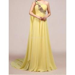 Formal Evening Dress - Daffodil Petite A-line One Shoulder Floor-length Chiffon