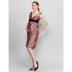 Cocktail Party Dress Brown Plus Sizes Petite Sheath Column V Neck Knee Length Taffeta