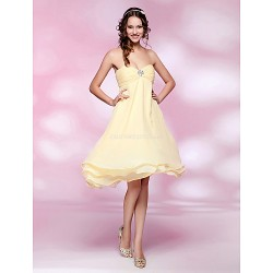 Cocktail Party Wedding Party Dress Daffodil Plus Sizes Petite A Line Princess Strapless Sweetheart Knee Length Chiffon