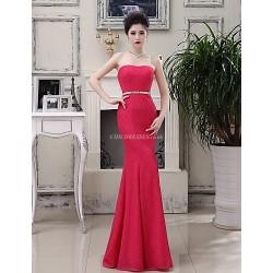 Formal Evening Dress Watermelon Plus Sizes Trumpet Mermaid Strapless Floor Length Lace