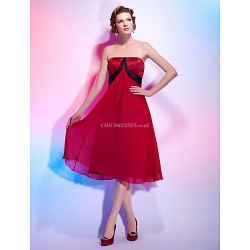 Cocktail Party Dress Ruby Plus Sizes Petite A Line Princess Strapless Knee Length Chiffon Satin