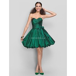 Dress - Dark Green Plus Sizes / Petite A-line / Princess Sweetheart Short/Mini Taffeta