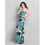 Formal Evening / Prom / Military Ball Dress - Multi-color Plus Sizes / Petite Sheath/Column One Shoulder Ankle-length Jersey Special Occasion Dresses