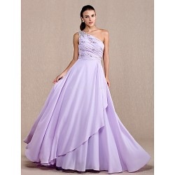 Formal Evening Prom Military Ball Dress Lilac Plus Sizes Petite A Line One Shoulder Court Train Chiffon