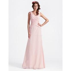 Floor Length Chiffon Bridesmaid Dress Blushing PinkPlus Sizes Hourglass Pear Misses Petite Apple Inverted Triangle