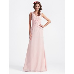 Floor Length Chiffon Bridesmaid Dress Blushing PinkPlus Sizes Hourglass Pear Misses Petite Apple Inverted Triangle