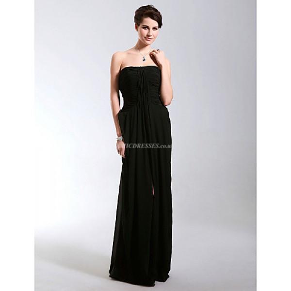 Formal Evening / Military Ball Dress - Black Plus Sizes / Petite Sheath/Column Strapless Floor-length Chiffon Special Occasion Dresses