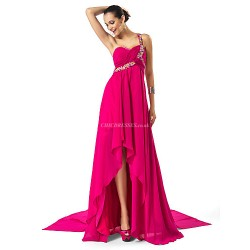 Formal Evening Dress Fuchsia Plus Sizes Petite Sheath Column One Shoulder Sweetheart Asymmetrical Chiffon
