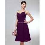 Wedding Party Dress - Grape Plus Sizes / Petite A-line Spaghetti Straps Knee-length Chiffon Special Occasion Dresses