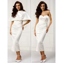 Formal Evening Dress Ivory Sheath Column Sweetheart Ankle Length Satin