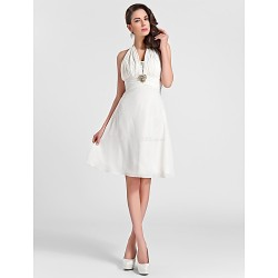 Knee-length Chiffon Bridesmaid Dress - Ivory Plus Sizes / Petite A-line / Princess Halter