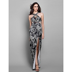 Formal Evening / Prom / Military Ball Dress - Print Plus Sizes / Petite Sheath/Column Straps Floor-length Chiffon