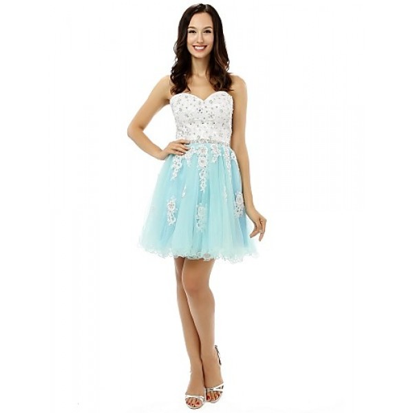 Cocktail Party Dress - Multi-color A-line Sweetheart Short/Mini Satin / Tulle Special Occasion Dresses