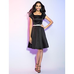 Cocktail Party / Holiday Dress - Black Plus Sizes / Petite A-line Square Knee-length Satin