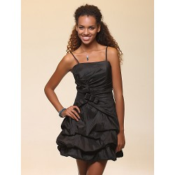 Cocktail Party / Sweet 16 / Wedding Party / Holiday Dress - Black Plus Sizes / Petite A-line / Ball Gown Spaghetti Straps Short/Mini