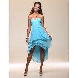Cocktail Party Holiday Dress Pool Plus Sizes Petite Sheath Column Strapless Notched Tea Length Asymmetrical Chiffon