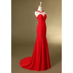 Formal Evening Dress - Ruby Trumpet/Mermaid Jewel Sweep/Brush Train Chiffon