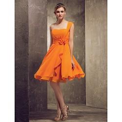 Knee Length Chiffon Bridesmaid Dress Orange Plus Sizes Petite A Line Princess One Shoulder
