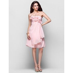Cocktail Party /  Dress - Pearl Pink Plus Sizes / Petite A-line / Princess Strapless Knee-length Chiffon