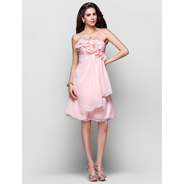 TS Couture Cocktail Party / Dress - Pearl Pink Plus Sizes / Petite A-line / Princess Strapless Knee-length Chiffon Special Occasion Dresses