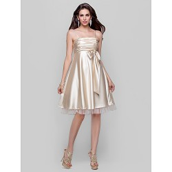 Cocktail Party / Homecoming / Prom Dress - Champagne Plus Sizes / Petite A-line / Princess Spaghetti Straps Knee-lengthStretch Satin /