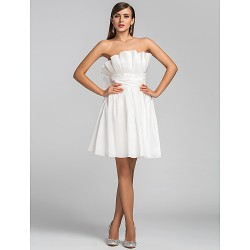 Cocktail Party Wedding Party Dress Ivory Plus Sizes Petite A Line Princess Strapless Short Mini Taffeta