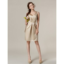 Knee Length Satin Bridesmaid Dress Champagne Plus Sizes Petite Sheath Column V Neck