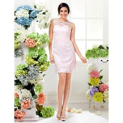 Knee-length Lace Bridesmaid Dress - Blushing Pink Plus Sizes / Petite Sheath/Column Jewel
