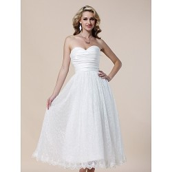 Cocktail Party / Prom / Formal Evening / Graduation Dress - Ivory Plus Sizes / Petite A-line / Princess Strapless / Sweetheart Tea-length