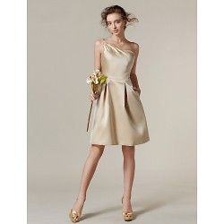 Knee-length Satin Bridesmaid Dress - Champagne Plus Sizes / Petite A-line One Shoulder