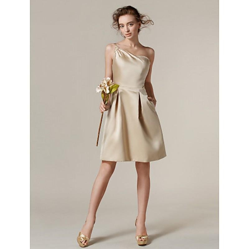 ca9c46e30d04b Knee-length Satin Bridesmaid Dress - Champagne Plus Sizes   Petite A-line  One