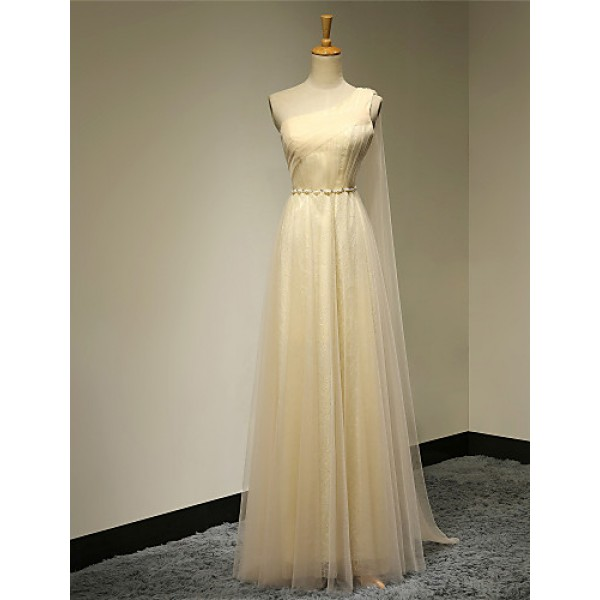 Formal Evening Dress - Daffodil Plus Sizes / Petite A-line One Shoulder Floor-length Organza Special Occasion Dresses