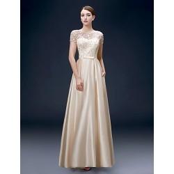 Formal Evening Dress Champagne Plus Sizes A Line Bateau Floor Length Satin
