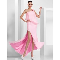 Prom Formal Evening Dress Candy Pink Plus Sizes Petite Sheath Column One Shoulder Asymmetrical Floor Length Chiffon