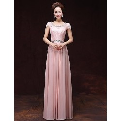 Formal Evening Dress - Pearl Pink A-line Bateau Floor-length Satin