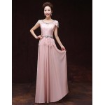 Formal Evening Dress - Pearl Pink A-line Bateau Floor-length Satin Special Occasion Dresses