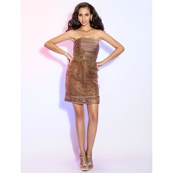 Cocktail Party Dress - Brown Plus Sizes / Petite Sheath/Column Strapless Short/Mini Satin / Organza