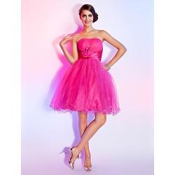 Sweet 16 Dress Fuchsia Plus Sizes Petite Ball Gown A Line Strapless Short Mini Tulle